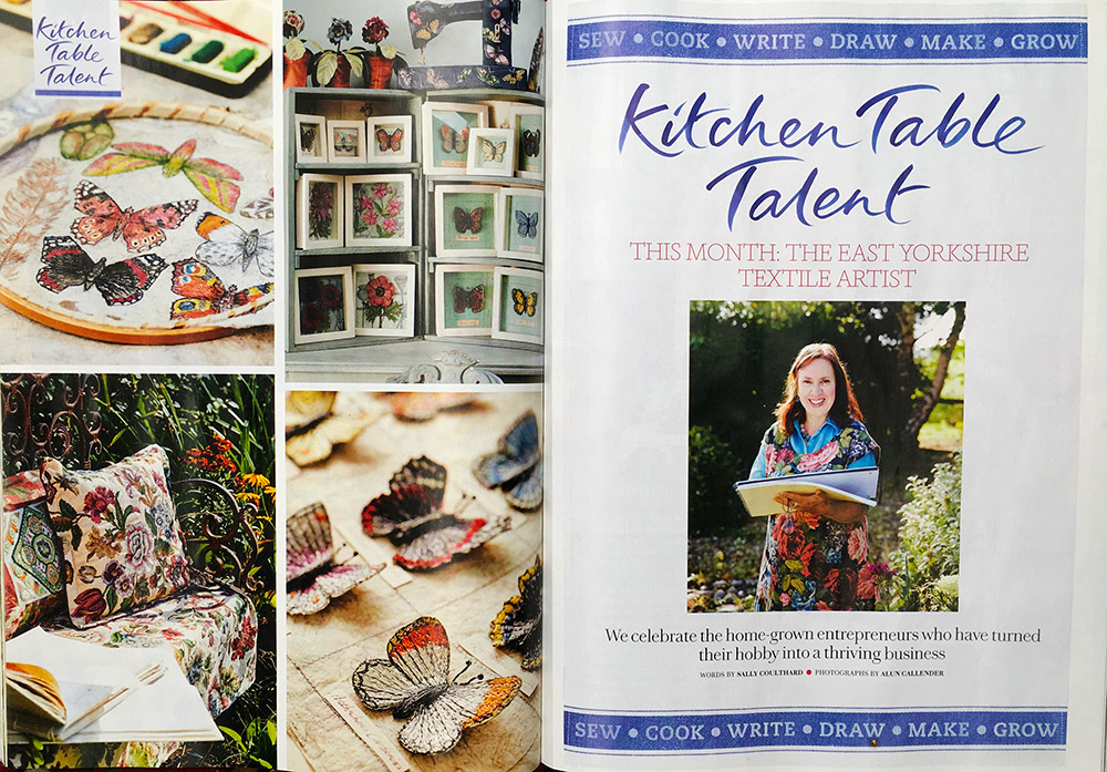 Preview of Country Living magazine article featuring botanical textile art by Corinne Young.
