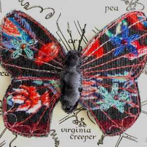 Charcoal Bright Butterfly Brooch (Detail)