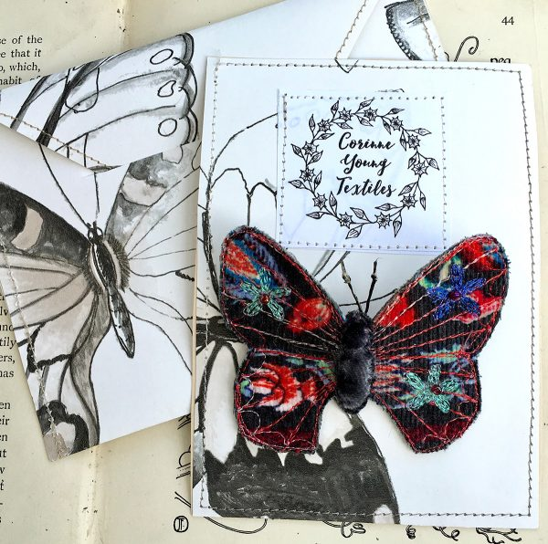 Charcoal Bright Butterfly Brooch (Pouch)