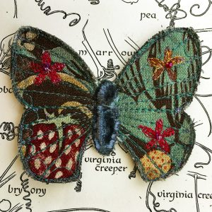 'Strawberry Thief' Butterfly Brooch (Detail)