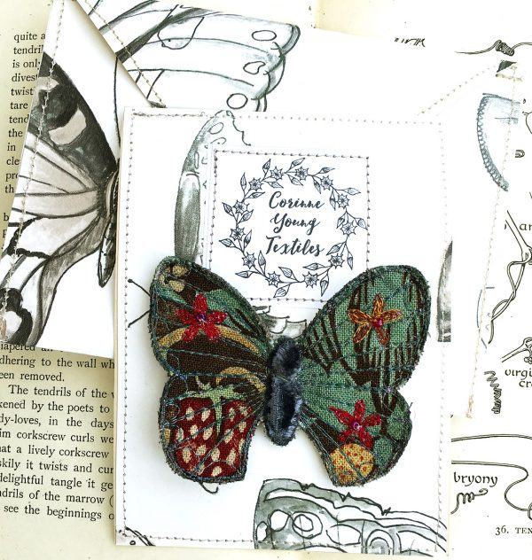 'Strawberry Thief' Butterfly Brooch (Pouch)