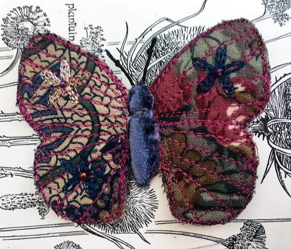 Winter Floral Butterfly Brooch (Detail)