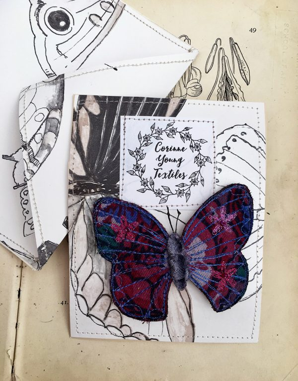 Midnight Floral Butterfly Brooch (Pouch)