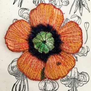 Orange Poppy Flower Brooch (Detail)