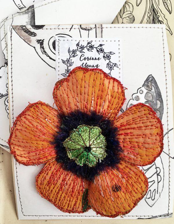 Orange Poppy Flower Brooch (Pouch)