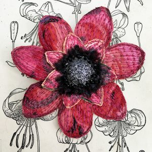 Red Anemon Flower Brooch (Detail)