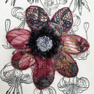 Winter Floral Anemone Flower Brooch (Detail)