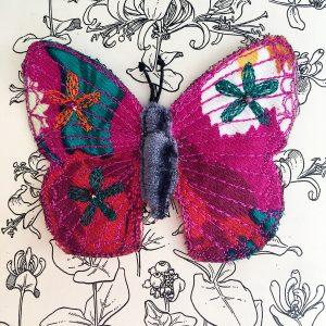 Fuchsia Butterfly Brooch