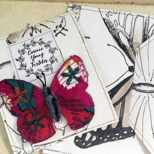 Fuchsia Butterfly Brooch (Pouch)