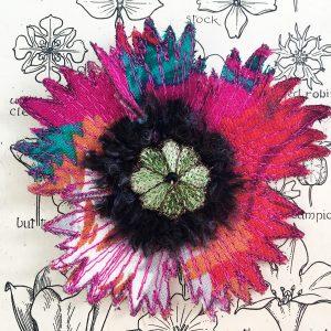 Fuchsia Poppy Flower Brooch