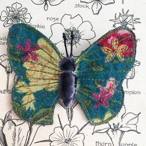 Jade-Pink Butterfly Brooch
