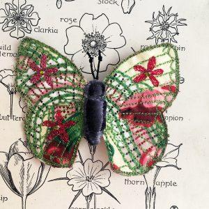 Rose Chintz Butterfly Brooch