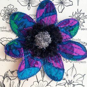 Sapphire-Green Anemone Flower Brooch