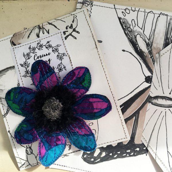 Sapphire-Green Anemone-Flower Brooch (Pouch)