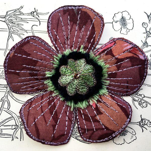 'Blackthorn' Poppy Flower Brooch (Detail)