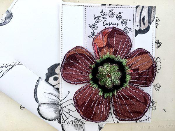 'Blackthorn' Poppy Flower Brooch (Pouch)