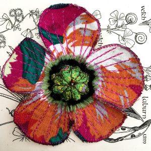 Fuchsia Poppy Flower Brooch (Detail)