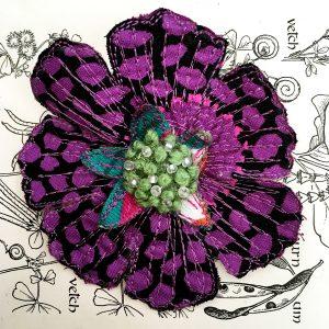 'Guinea Flower' Scabious Flower Brooch (Detail)