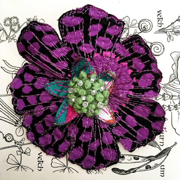 'Guinea Flower' Scabious Flower Brooch (Detail)