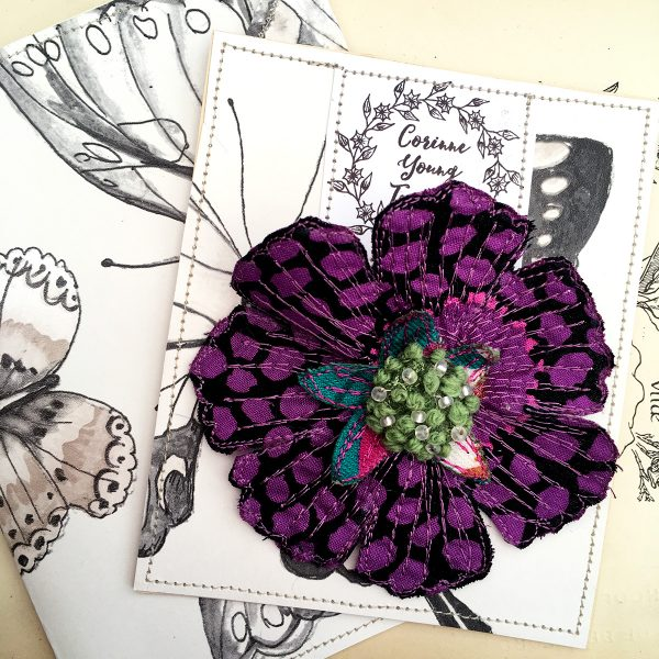 'Guinea Flower' Scabious Flower Brooch (Pouch)