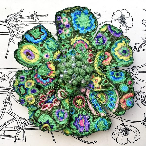 'Paperweight' Scabious Flower Brooch (Detail)