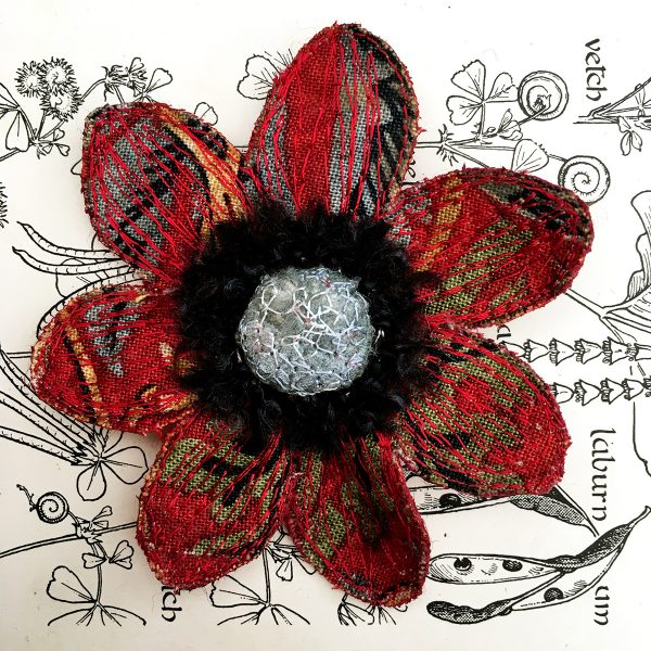 Red 'Strawberry Thief' Anemone Flower Brooch (Detail)
