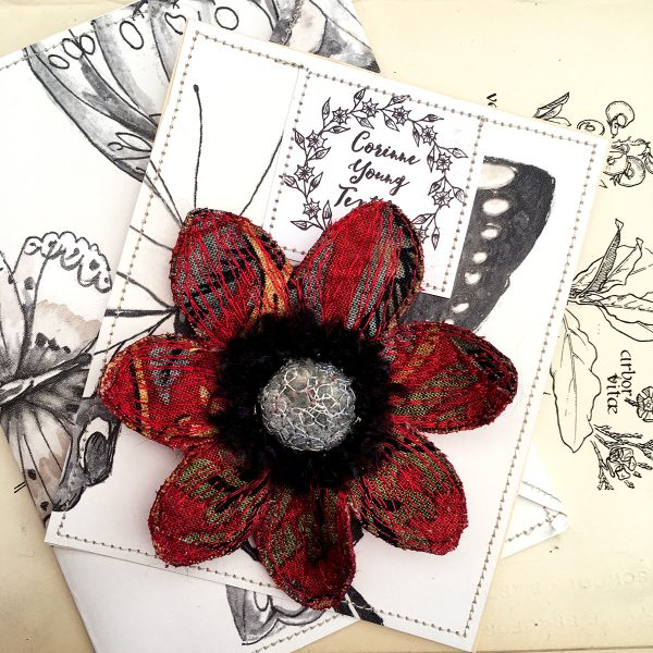 Red 'Strawberry Thief' Anemone Flower Brooch (Pouch)