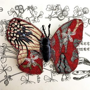 Red 'Strawberry Thief' Butterfly Brooch (Detail)