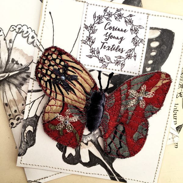Red 'Strawberry Thief' Butterfly Brooch (Pouch)