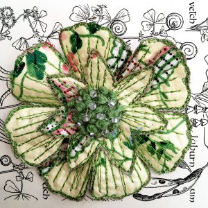 Rose Chintz Scabious Flower Brooch (Detail)