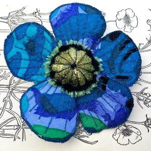 Sapphire Poppy Flower Brooch (Detail)