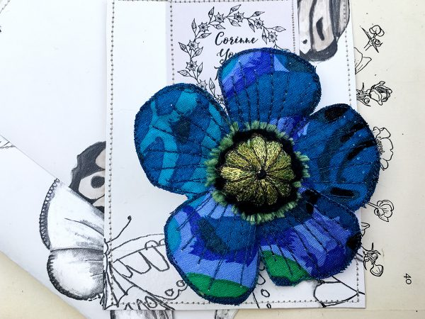 Sapphire Poppy Flower Brooch (Pouch)